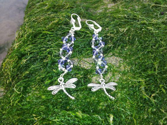 Dragonfly Beaded Wire Swarovski Crystal Earrings by OnenJewellery, £15.00