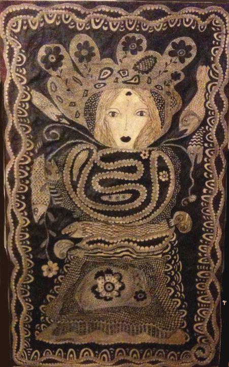 Stylo bille sur toile, 2010 par Frances Matemma Dallocchio, née en France en 1961