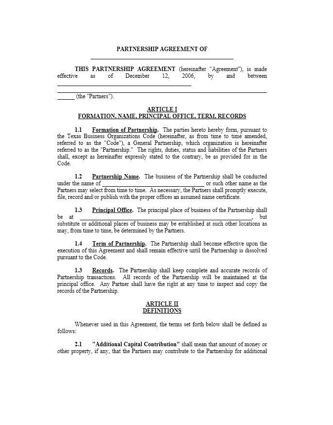 Printable Partnership Agreement Template Agreement