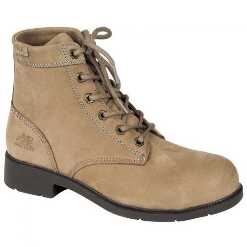 Clearance Work Boots for Women Dani Taupe 6″ Duty Work Boot Reg. $119.99- Now $60.00 Nu buck leather upper Aluminum toe Composite plate Rust proof hexagon gun metal eyelets PK abrasion resistant lining Removable cushioned EVA insole ANTI-SLIP and oil resistant rubber outsole CSA approved Grade 1 Electric Shock Resistant Meets or exceeds ASTM 2413-05 requirements