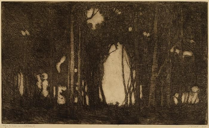 The hole in the trees, 1914, Jessie Traill, Etching, 29.5 x 49.8cm, private collection.