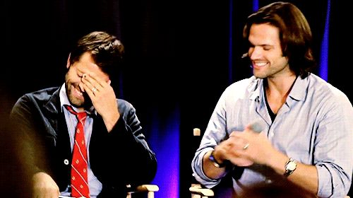 (gif) Jared bear-hugs Misha after he talks about getting beat up as a kid. I'm starting to think that the famous Winchester Bear-hug is actually not scripted, but a result of how the actors hug each other and that's it.