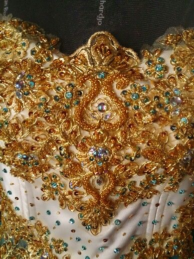 Gown , details payet kebaya modern indonesia gold Swarovski by bulanross