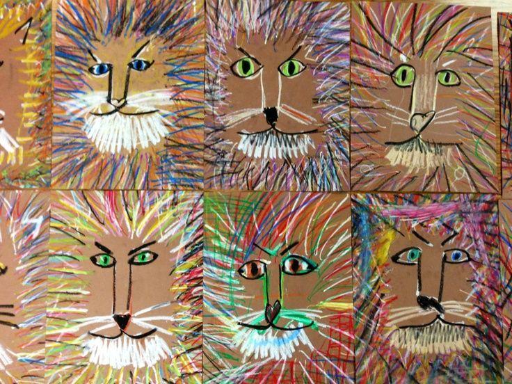LeRoy Neiman inspired lions   Art Lessons