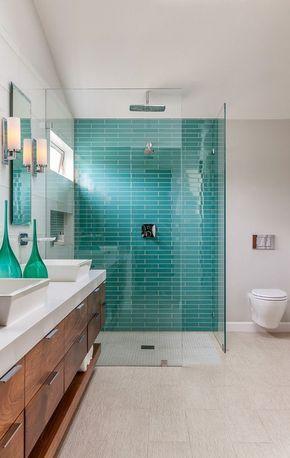aquamarine, teal subway tiles, walk in shower.