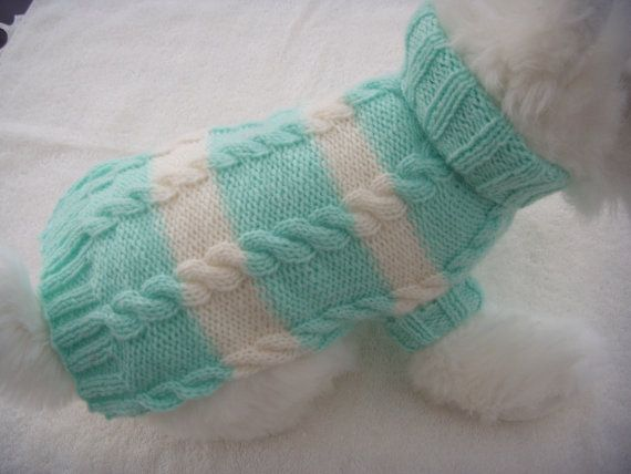 Dog clothes, sweater in a beautiful turquise blue and cream stripe cable design. etsy.com/shop/CUTIEDOG