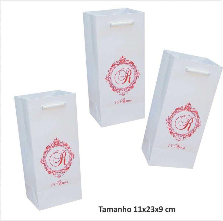 Sacola para mini garrafa com impressão de monograma em 01 cor                                                                                                                                                                                 Mais