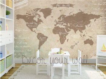 Mapa mundi mural, papel de pared autoadhesivo removible.