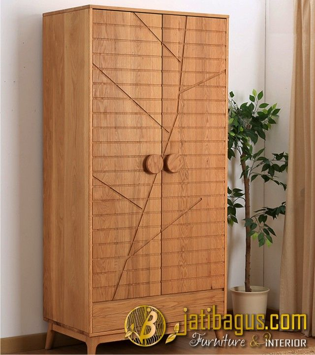 Lemari Pakaian Minimalis Pintu 2 Jati Motif Batang Pohon Jati
