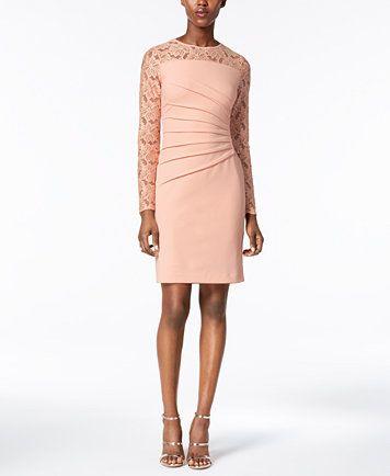 Ivanka Trump Lace-Trim Sheath Dress | macys.com