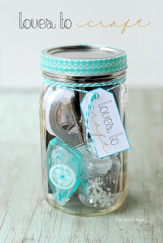 Loves To Craft Mason Jar Gift for the crafter in your life. This jar is filled with fun craft supplies! #masonjar #sponsored