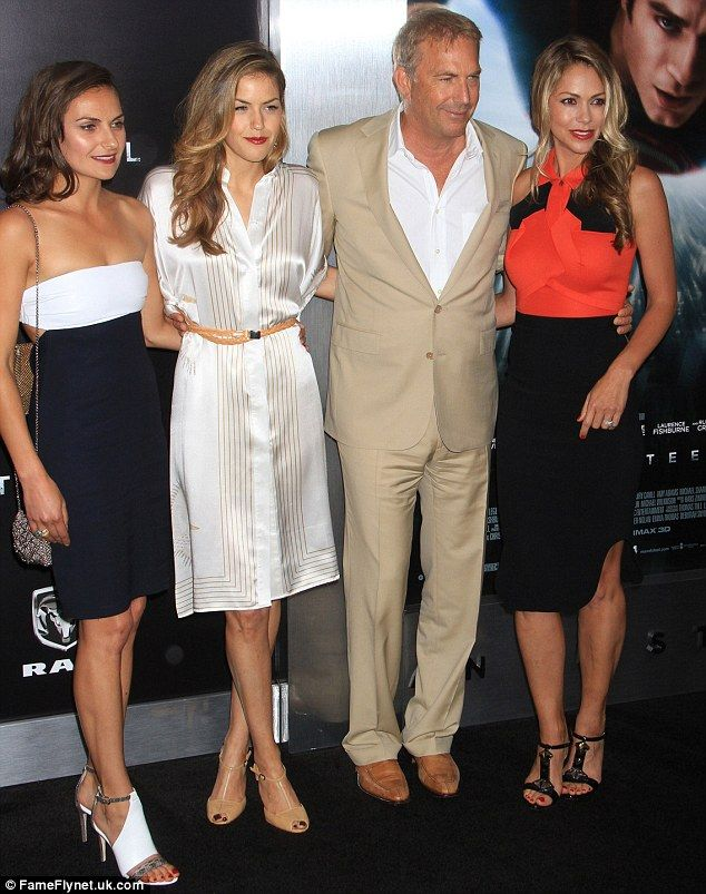 Kevin Costner was accompanied by daughters Annie, 29, and Lily, 26, as well as wife Christine Baumgartner at the New York premiere of Man Of Steel on Monday night