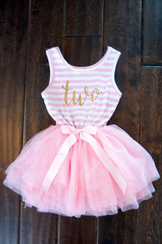 Birthday outfit dress with gold letters and pink tutu for girls