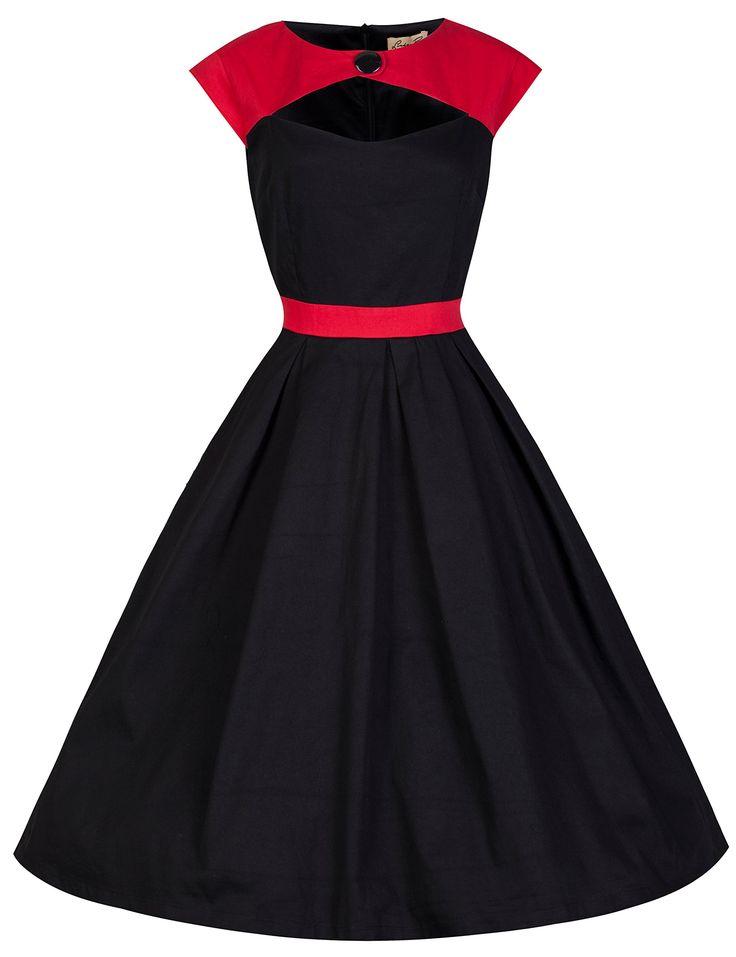 Lindy Bop 'Lottie' 1950's Rockabilly Style Party Dress With Attatched Bolero/Shrug (M, Red Black)
