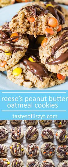 These thick, no flour peanut butter oatmeal cookies are full of Reese's Pieces and peanut butter cups, with some peanuts thrown in for a little crunch!