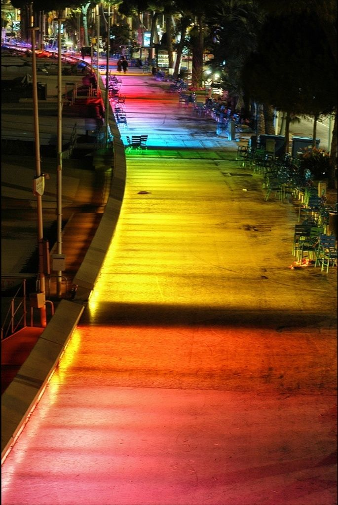 Follow the rainbow lighted road