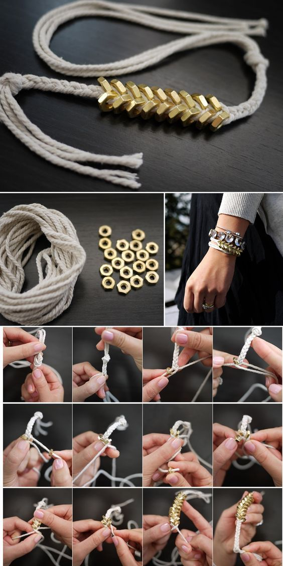 DIY Braided Hex Nut Bracelet inspired by Philip Grangi 's Giles & Brothers Hex Jewlery Collection. Supplies: Cotton Butcher's Twine & 18 small brass nuts.