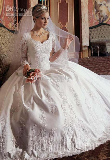 Wholesale 2011 Modest Long Sleeve Ball Gown Lace Wedding Dress with Embroidery and V Neck, Free shipping, $142.24-168.0/Piece | DHgate