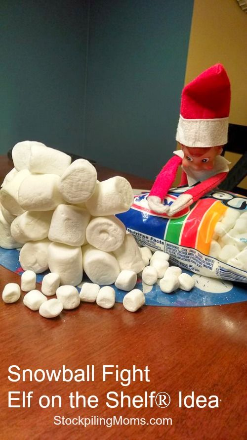 Our elf decided to have a snowball fight last night! #ElfOnTheShelf #Christmas