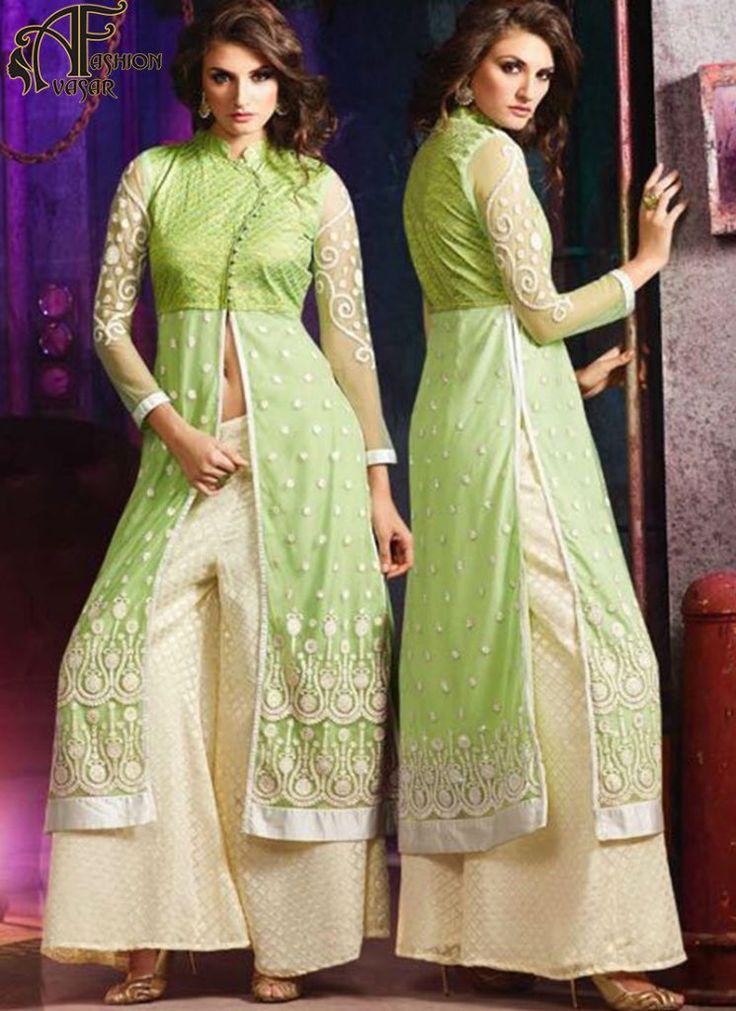 Parrot Green salwar suits online – indian net designer salwar kameez online shopping