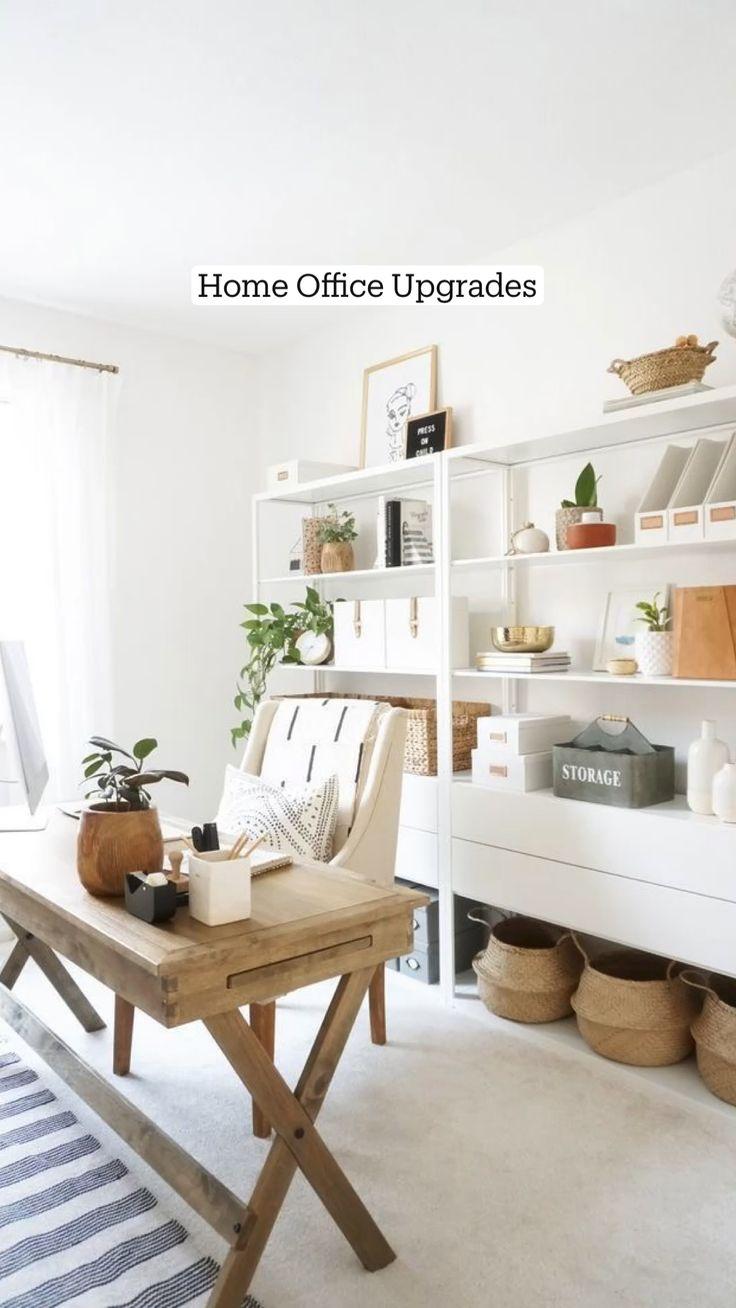 Office Shelf, Office Organization At Work, Office Nook, Office Inspo, Office Workspace, Office Shelving, Small Workspace, Ikea Office, Storage Shelving
