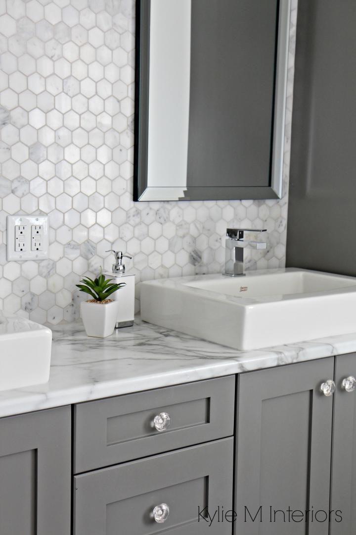 27 Perfect Grey Bathroom Vanity Backsplash Ideas Bathroomvanity Backsplashideas Bathroom Countertops Bathrooms Remodel Gray And White Bathroom