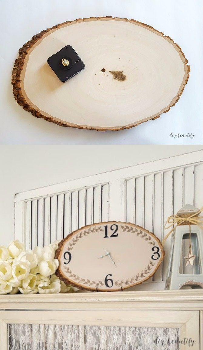 Reloj Sobre Tronco De Madera Ovalado - diybeautify.com – DIY Wood Slice Clock