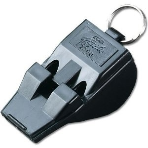 Acme Tornado 2000 Pealess Whistle, two frequencies that sound simultaneously for loudness and distance. Loudest in the world.