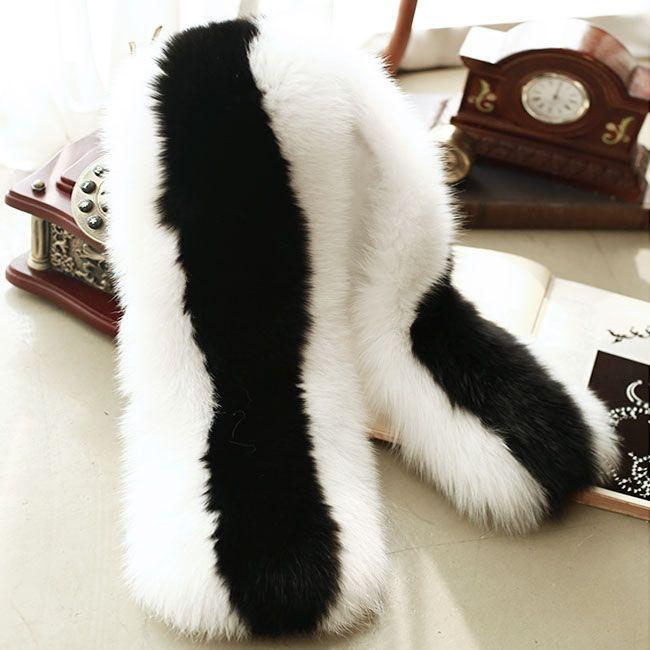 new black and white fox fur pashmina super big luxurious real fox fur scarf women feale super soft elegant cute fur scarf
