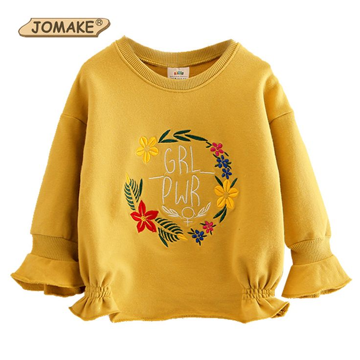 Cute Costume For Kids Girls T-shirt Baby Girl Sweatshirt 2017 Autumn Girls Cotton Flowers Letter Embroidery Children's Clothing //Price: $22.92 //     #kids