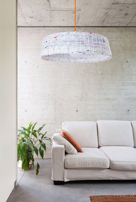 Minimal hanging eco lamp Modern designer pendant lamp Big lamp over the table Geometric simple shape Paper eco lamp White Oryginal - Hoc Big lamp.