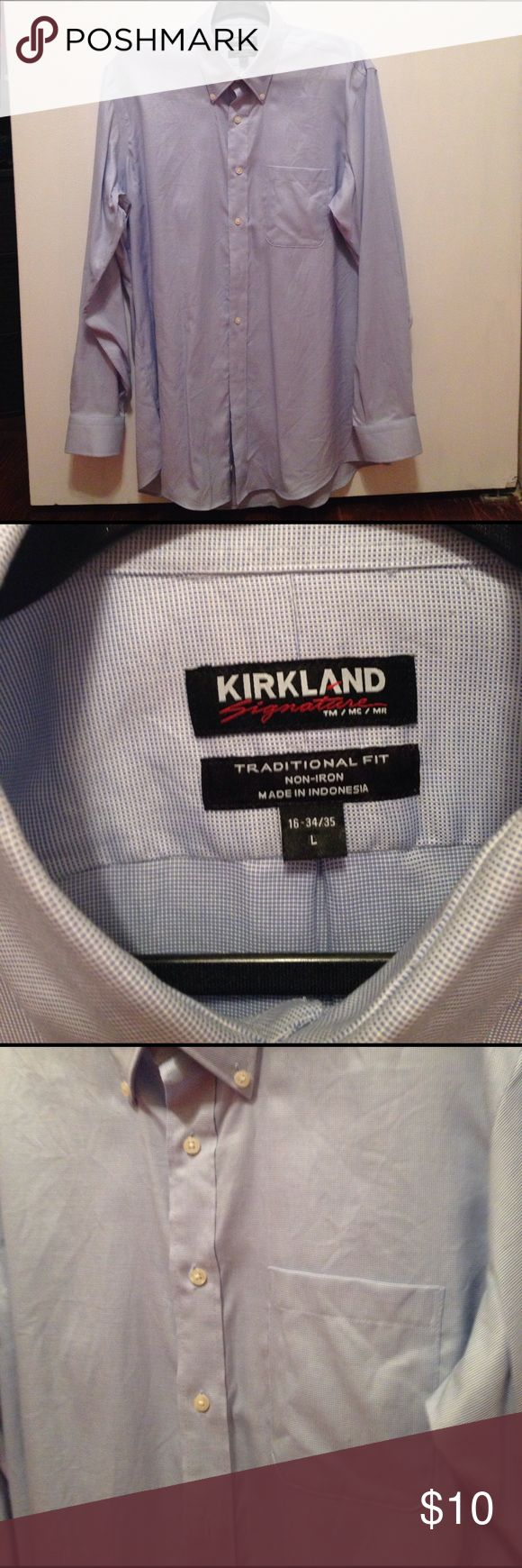 Kirkland L blue polo shirt Kirkland size L, light blue, button down polo shirt. Brand new! Traditional fit. Kirkland  Shirts Dress Shirts