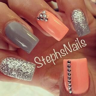 Best 25+ Coral nails glitter ideas on Pinterest | Coral ...