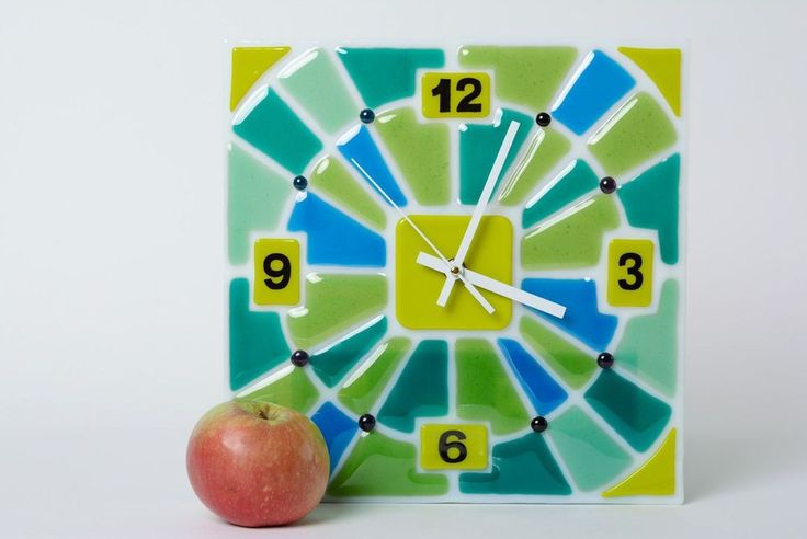 Handmade Fused Glass Square Wall Clock Of Green And Blue Colors #MadeHeartBuyhandmadegoods