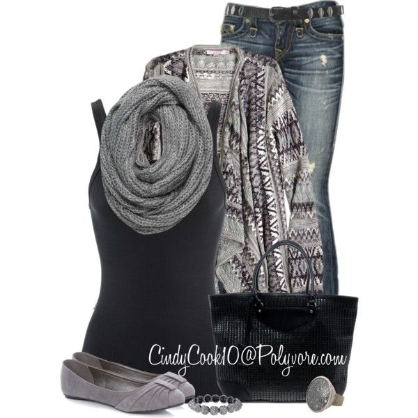 """Cardigan and Jeans"" by cindycook10 on Polyvore, January 2015"