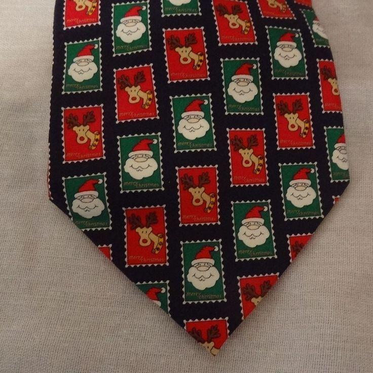"Santa Claus Rudolf Reindeer Christmas Tie Necktie 59""  Holidays Mosaic Red Green #HolidaysMosaic #Tie"