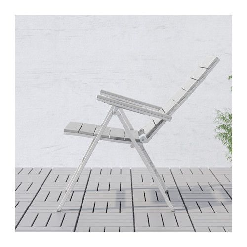 IKEA FALSTER Reclining Chair, Outdoor Foldable Grey The Back Can Be  Adjusted To Five Different Positions.