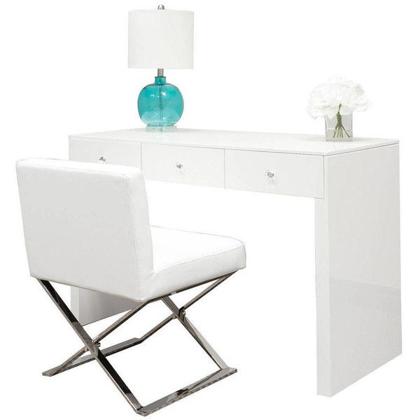 Pearl White Gloss Makeup Vanity Table ($405) ❤ liked on Polyvore featuring home, furniture, tables, bedroom furniture, home & living, light yellow, vanities & nightstands, hand made furniture, handmade wood furniture and handcrafted wood tables