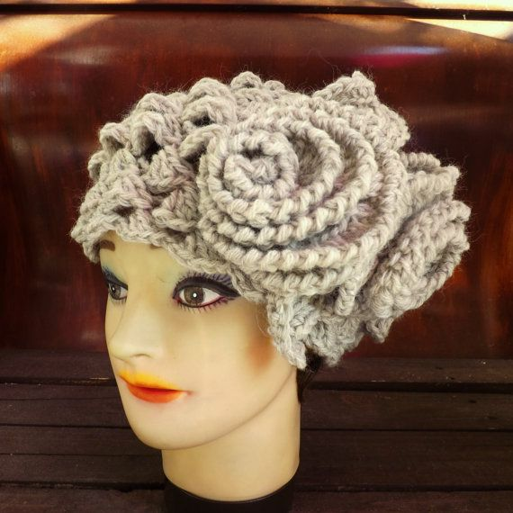 Click #strawberrycouture Crochet Beret Hat Crochet Hat Womens Hat Karen Crochet Beret Hat Crochet Flower Womens Wool Hat Biscuit Gray Hat Gray Crochet Hat by strawberrycouture