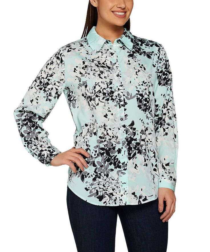 Take a look at this Susan Graver Mint & Black Abstract Button-Up - Plus Too today!