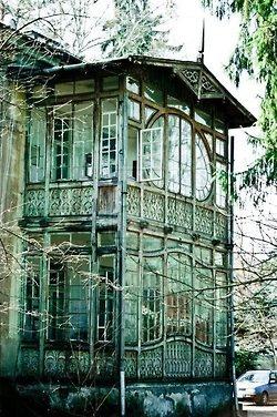 glass abandoned house
