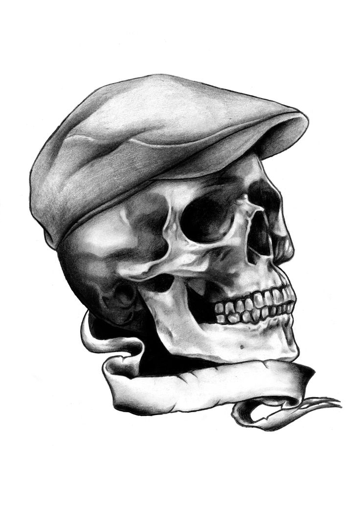 Skull and flat cap. T shirt available at http://www.blackmarketartcompany.com