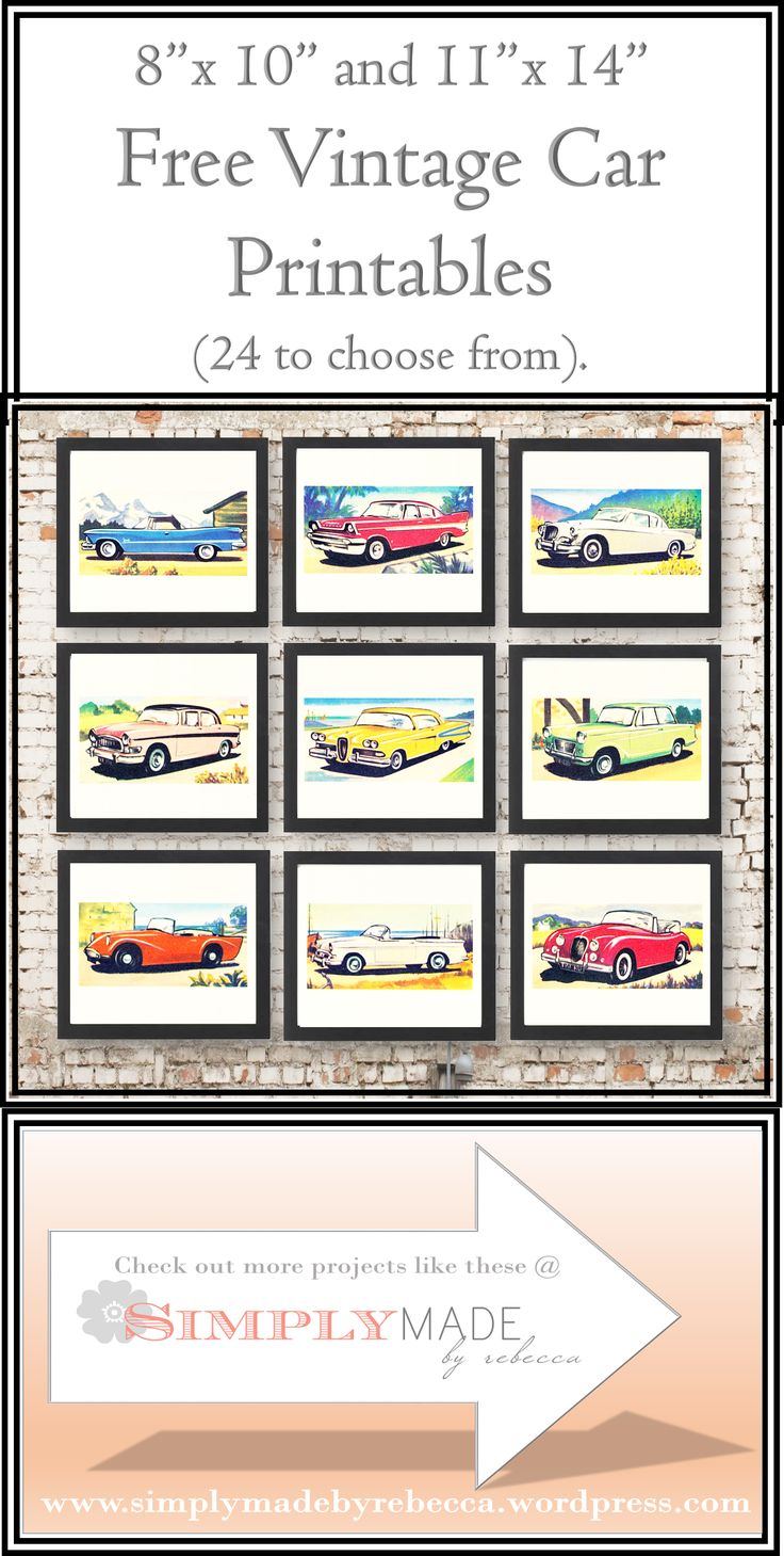 "Free Vintage Car Art Printables.  24 pictures to choose from.  Formatted to fit in an 8"" x 10"" or 11"" x 14"" picture frame."