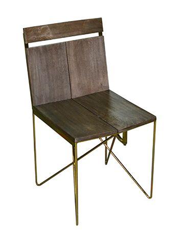 flat base iron wood chair