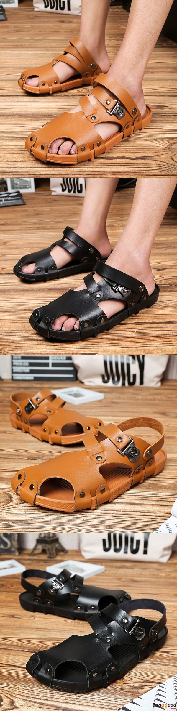 US$23.99 + Free shipping. Men Sandals, Summer Sandals, Casual Sandals, Hole Slippers, Beach Shoes, Beach Slippers. Color: Black, Brown. Upper Material: Cow Split Leather. In & Cool.