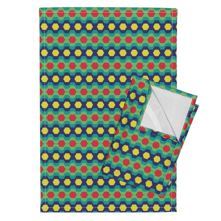 Orpington Tea Towels featuring FUNNY RETRO CARNIVAL CLOWNS HEXAGONS RED TEAL GREEN by paysmage   Roostery Home Decor