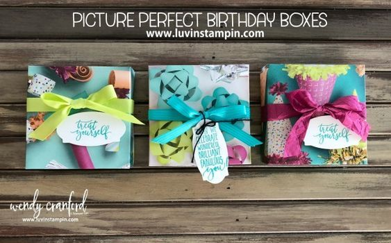 Picture Perfect Birthday Box from Picture Perfect DSP and Picture Perfect stamp set Wendy Cranford www.luvinstampin.com