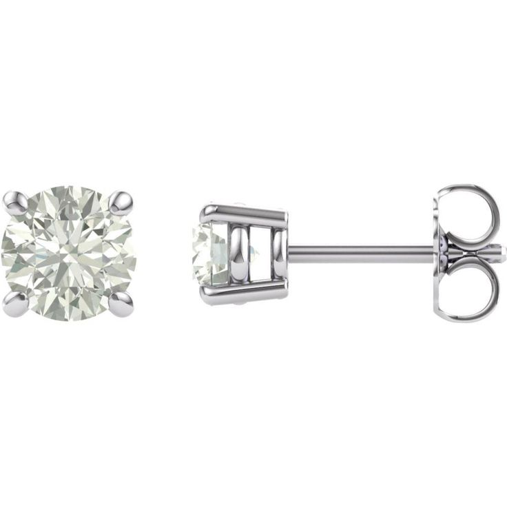 Round Shape Synthetic Moissanite Earrings in Gold - 14kt White - Post with Backs