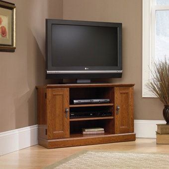 camden county corner tv stand has ample storage and planked cherry finish home decor