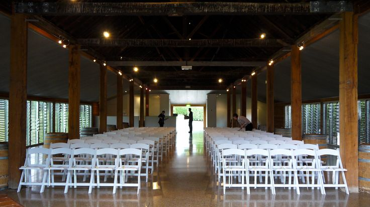Yering Station's Historic Barn. Such a beautiful space that can be transformed into an amazing wedding venue. Little White Americana Chairs by A&B Weddings - the Setting Specialist. Melbourne Wedding Ceremony Hire.